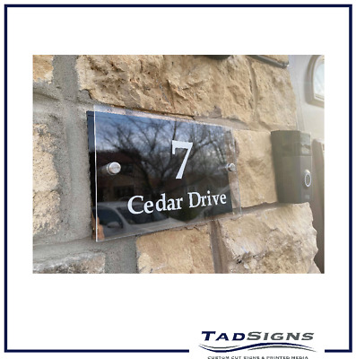 Contemporary House Sign | Plaque | Door Number | Personalised | Glass Effect