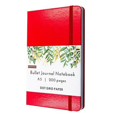 Womens Red Leather Bullet Journal Notebook, A5 Dot Grid Notebook, White Paper