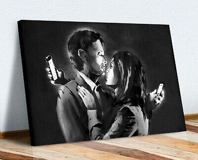Banksy - Mobile Lovers -  Canvas Street Wall Art Print Artwork
