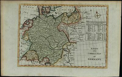 Germany Poland Baltic Sea c.1780's Europe old map hand colored