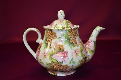 "7"" Porcelain Teapot  with Beautiful Rose and Grape Design /12k gold trim / 33oz."