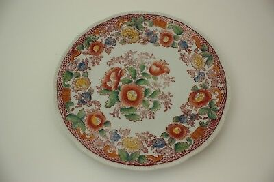 Mikori Ware hand painted Japan Luncheon Plate Floral Red and Yellow Turtle Mark