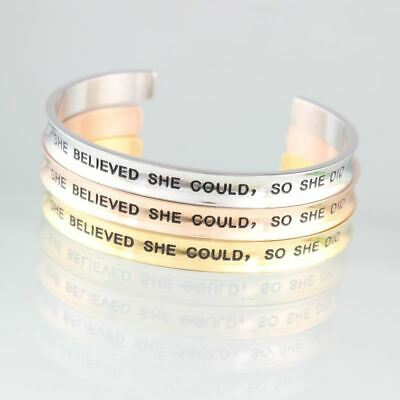 Women Stainless Steel Engraved Positive Inspirational Quote Cuff Mantra Bracelet
