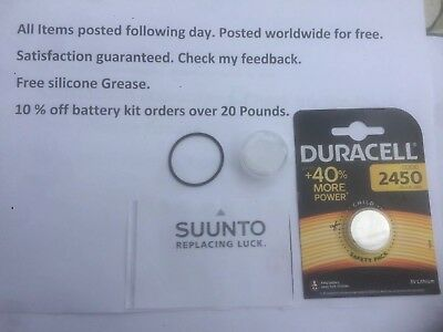 Battery  o ring Suunto Vyper Vytec,Gekko,Zoop, HelO2 Dive Duracell +free Grease