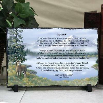 Personalized Fathers Day Keepsake Plaque Dad my Hero Deer Slate Printed Poem