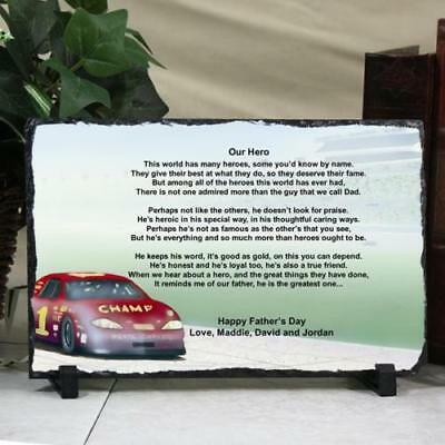 Personalized Fathers Day Keepsake Plaque Dad my Hero Race Car Slate Printed Poem