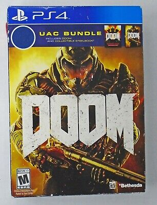 Brand New! Doom UAC Bundle Game and Collectible Steelbook Case Playstation 4