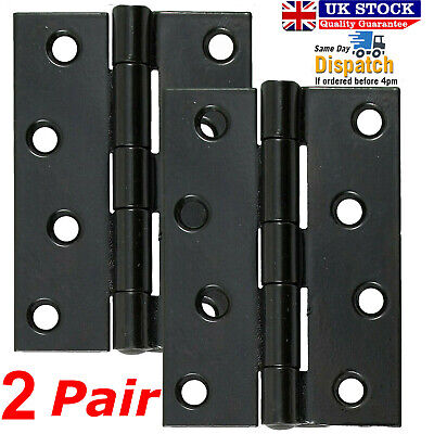 "2x DOOR HINGE STEEL FIRE RATED BALL BEARING HINGES 4""/100mm BLACK INTERNAL DOORS"