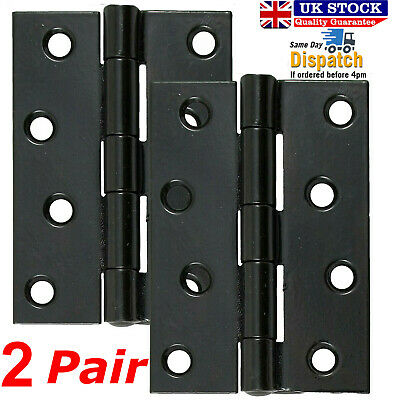 "2x Pair Of Large 4""/100mm BUTT HINGES HEAVY DUTY Strong Steel Country Door BLACK"