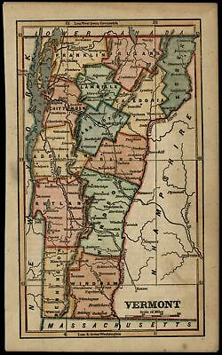 Vermont state by itself 1854 Phelps uncommon lovely antique hand color map