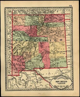 New Mexico 1890 detailed antique state map Population 153,000 Utah Territory WA