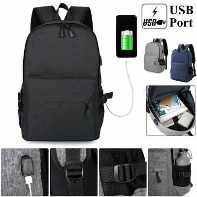 Mens Anti-theft USB with Charger Port Laptop Backpack Notebook School Travel Bag