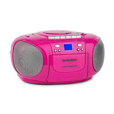 auna BoomGirl Boom Box GhettoBlaster Radio lecteur CD K7 USB MP3 AUX - rose
