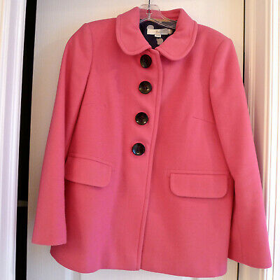 a40b688c34 Boden Pink Wool Swing Coat With Navy Dot Lining - So cute - Size US 8