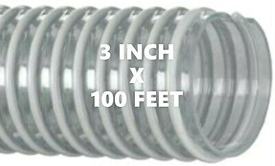 """1 Roll of Kanaflex 100 CL 3"""" Corrugated Clear PVC Water Suction Hose - 100 ft."""