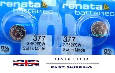 SR626SW Watch Battery x 2  Renata 377 1.55v  Mercury Free Fits Casio MQ24