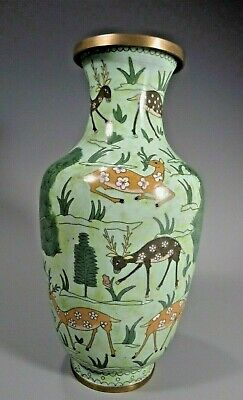 Japan Japanese Cloisonne over Brass Vase w/ Deer in a Landscape Decor ca. 20th c