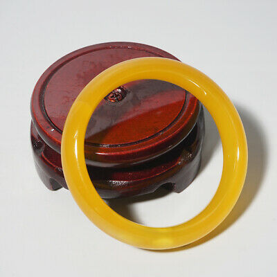 Chinese Handmade Natural Agate Round Bracelet Yellow Bangle Collectable Gift