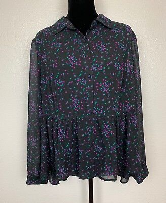 Torrid Black Purple Pink Green Polka Dot Peplum Sheer Blouse Hi-Lo Top Plus Sz 0