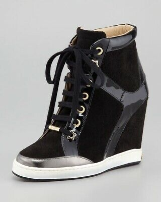 bc9bd71849a0 NEW  795 JIMMY CHOO  Panama  black suede wedge sneakers ANKLE BOOTS ...