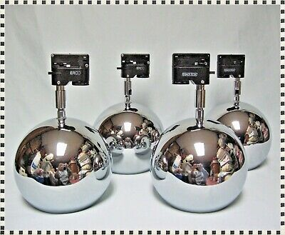Vintage MID CENTURY MODERN 4 Chrome Orb Eyeball OMI Track Lights Adjustable