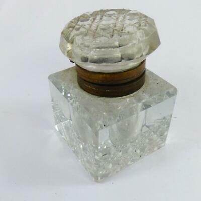 ANTIQUE CUT GLASS HOBNAIL INKWELL for writing slope / desktop