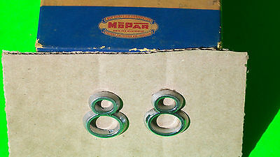 "1953 DeSoto ""8"" Front Fender Chrome Ornaments pair MoPaR part #1494215"