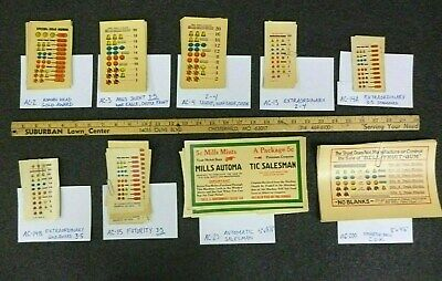 Antique Slot Machine Parts - Repro Paper Payout Award Card, MILLS