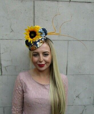 Mustard Yellow Navy Blue Feather Flower Hat Hair Fascinator Races Floral 7120
