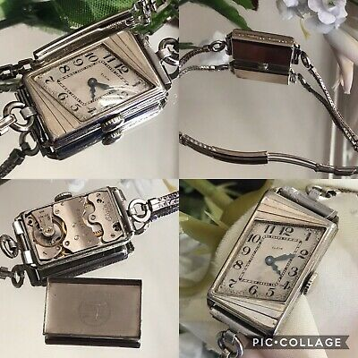 1920's Ladies Art Deco Asymmetrical Elgin Watch ~ Runs