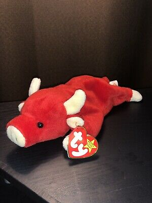 5c8bd316f05 EXTREMELY RARE 1995 SNORT TY BEANIE BABY RED BULL PLUSHIE WITH TAG PVC +  Errors