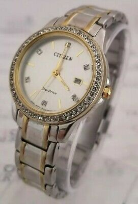 Citizen Eco-Drive: FE1174-50A Women's 28mm Crystal Accent Two-Tone Watch