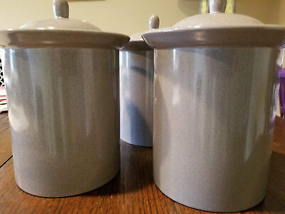 Mikasa Vintage  Canisters Containers w/Lids Gray VK005 Set/3
