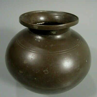 Fine Old Asian Bronze Bulbous Vessel w/ Incised Linear Decor ca. 19th century