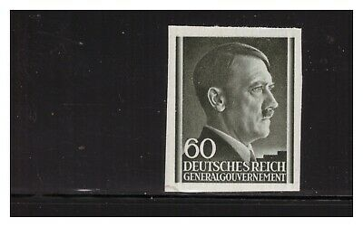 German Occupation Of Poland 1943 60G Hitler Head Imperf Sc.n89 Very Rare Mnh Pg4