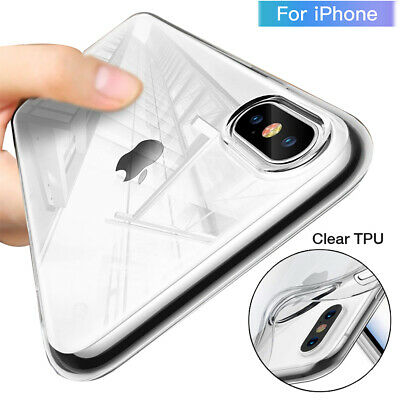 For iPhone Xs Max Xr X Transparent Phone Case Cover Ultra Thin Silicone TPU Gel