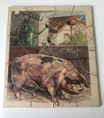 Antique Vintage Wood WOODEN JIGSAW PUZZLE Completed Piggy Pig Farm Animal Used