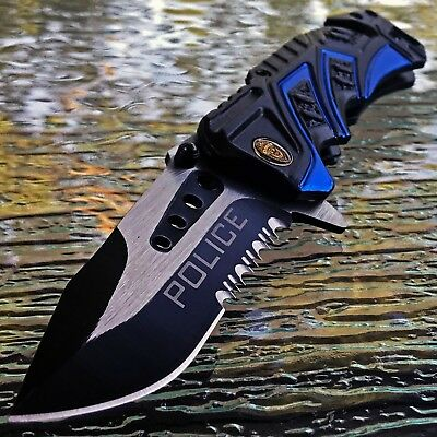 "MTECH 7.5"" USA POLICE SPRING ASSISTED RESCUE TACTICAL FOLDING POCKET KNIFE Open"