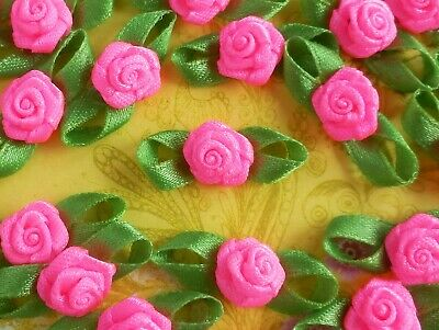 100! Hot Pink Satin Ribbon Roses With Leaves - Neon Pink Rose Embellishments!