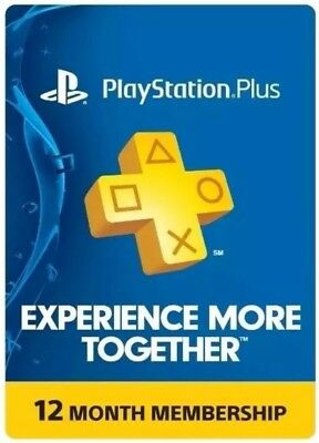Sony PlayStation Plus 1 Year (12 Months) Membership Subscription Code - NEW!
