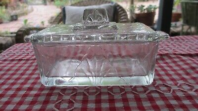 VINTAGE Glass Butter  Box / Dish with Cover 16.7 x 8 x 9 cms high