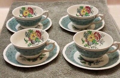 Ridgway Plymouth Green 4 Vintage Teacup and Saucers 8 pieces Ridgways Shelton