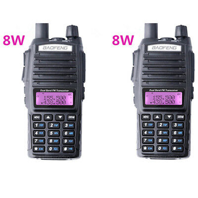 2X Baofeng UV-82 8W Walkie Talkie Dual Band FM VHF/UHF Two-Way Radio Transceiver