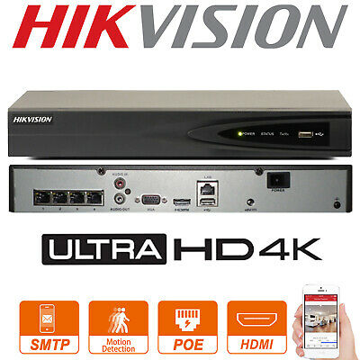 Hikvision 4K Nvr Ds-7604Ni-K1/4P 4Ch Poe 8Mp Security Network Video Recorder