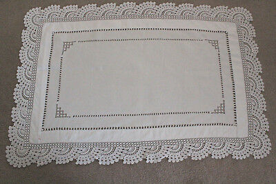 Vintage white linen rectangular cloth with crochet edge and drawn thread work.