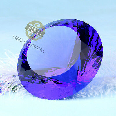 Crystal Diamond Glass Big Blue Paperweight Hand Cut Large Favors Gifts 100mm