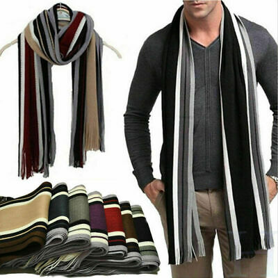Mens Cashmere Scarf Gift Winter Warm Soft Fringe Striped Tassel Long Shawl Wrap