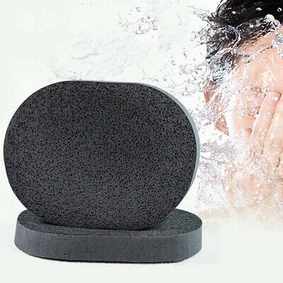 Black Natural Bamboo Charcoal Facial Puff Face Washing Cleansing Sponge AU