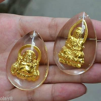 New 2pcs 24K Yellow Gold Foil Bless Buddha Kwan-Yin Man-made Crystal Pendant
