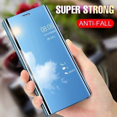 For Samsung Galaxy M20 M10 S10 Smart Clear View Mirror Leather Case Stand Cover